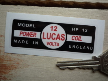 Lucas Power Coil Sticker. HP12 12V. 16.