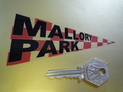 "Mallory Park Pennant Style Clear Static Cling Sticker 4.5""."