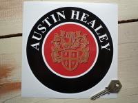 "Austin Healey Crest Circular Sticker. 5"" or 6.5""."