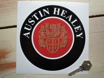 "Austin Healey Crest Circular Sticker. 5"" or 6.5""."