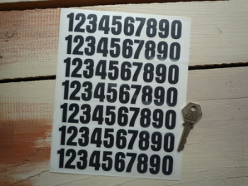 Cut Number Stickers. 1 - 0. Sheet of 70. 25mm Tall.