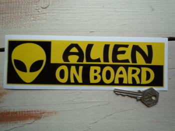"Alien On Board Bumper Sticker. 8.5""."