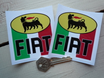 "Fiat Agip Tricolore Stickers. 3"" Pair."