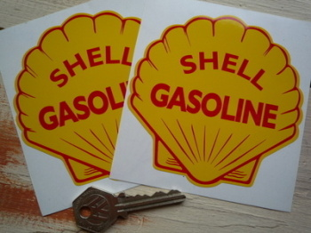 "Shell Gasoline Stickers. 2"", 4"" or 6"" Pair."
