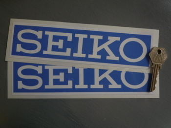 "Seiko Blue & White Oblong with White Border Stickers. 8"" Pair."