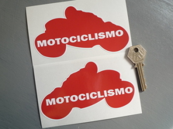 "Motociclismo Handed Motorcycle Rider Stickers. 5"" Pair."