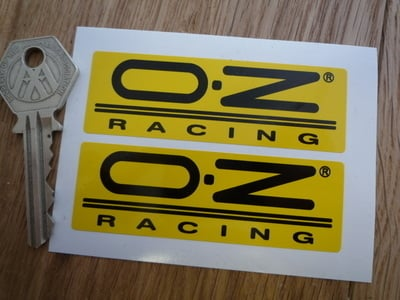"OZ Racing Oblong Black on Yellow Stickers. 3"" Pair."