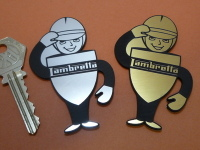 "Lambretta Saluting Service Man Self Adhesive Scooter Badge. 2"" or 3""."