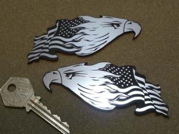 "USA Stars & Stripes Flag & Eagle Head Self Adhesive Bike/Car Badges 3.5"" Pair."
