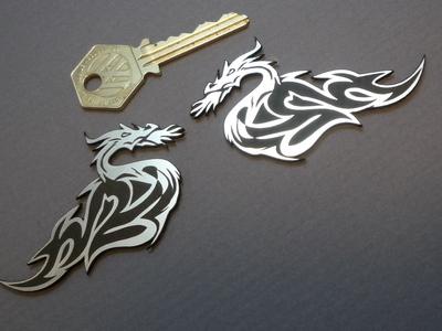 "Dragon Style Handed Self Adhesive Bike/Car Badges. 3"" Pair."
