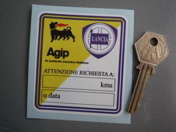"""Lancia & Agip Attenzione Richiesta A Service Sticker. 3""""."""