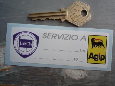 """Lancia & Agip Servizio A Long Service Sticker. 4""""."""