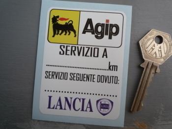 """Lancia & Agip Servizio A Tall Service Sticker. 3""""."""