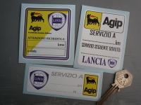 Lancia & Agip Service Stickers. Set of 3.