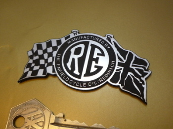 "Royal Enfield Flag & Disc Style Laser Cut Self Adhesive Bike Badge. 3""."