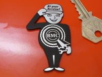 BMC Saluting Service Man Laser Cut Self Adhesive Car Badge. 2.5