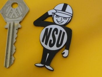 "NSU Saluting Rider Laser Cut Self Adhesive Bike Badge. 2.25""."