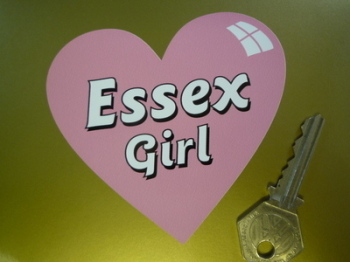 """Essex Girl Heart Shaped Pink Sticker. 4""""."""