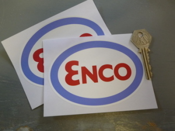 "Enco Red, Blue & White Oval Stickers. 4.5"" Pair."