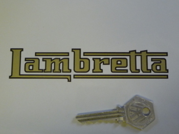 "Lambretta Logo Cut Text with Black Outline Sticker. 5""."