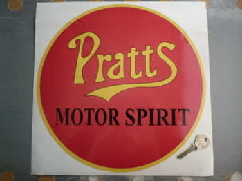 "Pratt's Motor Spirit Red Circular Sticker. 12""."