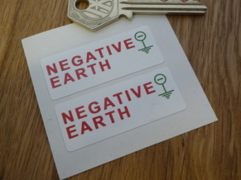 "Negative Earth - Stickers. 2"" Pair."