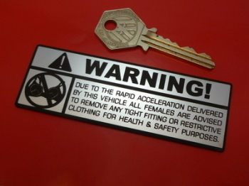 Bra Warning Spoof Laser Cut Self Adhesive Car, Bike or Quard Badge. 4""