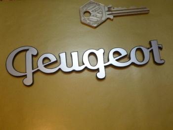 """Peugeot Script Text Laser Cut Self Adhesive Car Badge. 5.25""""."""