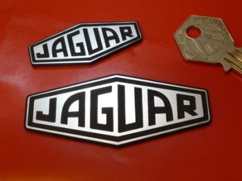"""Jaguar Lozenge Logo Laser Cut Self Adhesive Car Badge. Black & Silver. 2"""", 3"""" or 4""""."""