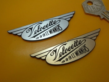 "Velocette TT Winners Laser Cut Self Adhesive Bike Badge. 3""."