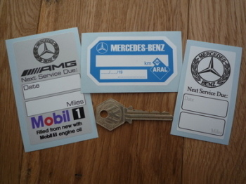 Mercedes, AMG, Aral & Mobil Service Stickers. Set of 3.