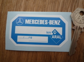 "Mercedes Benz & Aral Service Sticker. 3""."