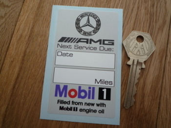 "Mercedes Benz AMG & Mobil 1 Service Sticker. 3.5""."