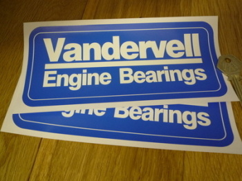 "Vandervell Engine Bearings Blue & White Oblong Stickers. 8"" Pair."