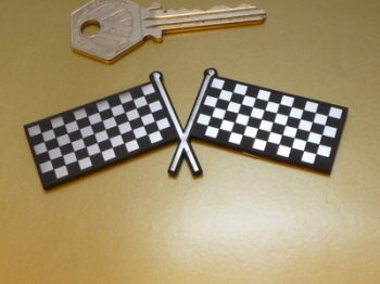 "Crossed Chequered Flag Self Adhesive Bike/Car Badge. 4""."