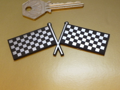 Crossed Chequered Flag Self Adhesive Bike/Car Badge. 4