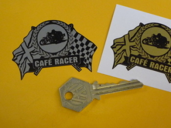 "Cafe Racer Flag & Scroll Sticker. 2.5""."
