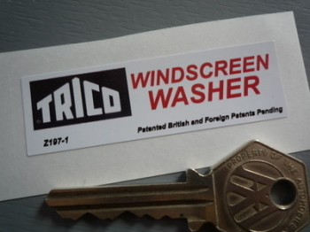 "Trico Windscreen Washer Sticker. 2.5""."