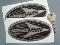"Shorrock Power Black & Silver Oval Stickers. 5.5"" Pair."