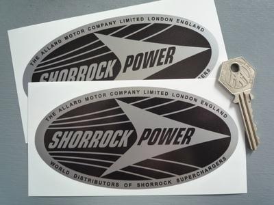 Shorrock Power Black & Silver Oval Stickers. 5.5
