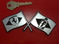 Pininfarina & Ferrari Crossed Flags Self Adhesive Car Badge. 5