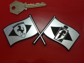 "Pininfarina & Ferrari Crossed Flags Self Adhesive Car Badge. 5""."