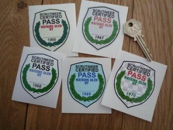 """Watkins Glen New York Scrutineer Passed Racing Sticker. Various Years. 2""""."""