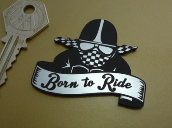 "Born To Ride Cafe Racer Style Laser Cut Self Adhesive Bike Badge. 2""."