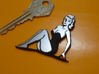 """Pin Up Girl in Swimsuit Sexy Lady Self Adhesive Car or Bike Badge. 2"""""""