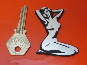 "Pin Up Girl Naked Kneeling Lady Self Adhesive Car or Bike Badge. 2.5"""