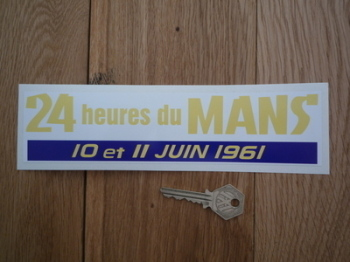 "24 Heures Du Mans 1961 LeMans Le Mans Oblong Sticker. 8.5""."