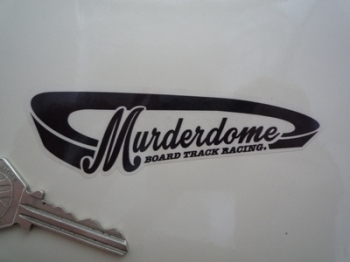 "Murderdome Board Track Racing Black/White & Clear Sticker. 4""."