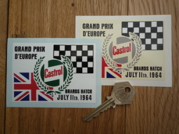 "Brands Hatch. Grand Prix D'Europe 1964 Sticker. 3.5""."