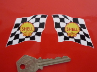 """Shell Traditional Wavy Chequered Flag Stickers. 2"""", 4"""" or 6"""" Pair."""